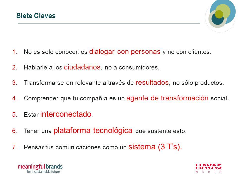Siete Claves 1.No es solo conocer, es dialogar con personas y no con clientes. 2.Hablarle a los ciudadanos, no a consumidores. 3.Transformarse en rele