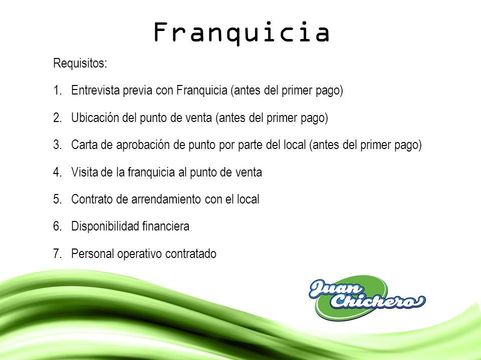 Franquicia Requisitos: 1.Entrevista previa con Franquicia (antes del primer pago) 2.Ubicación del punto de venta (antes del primer pago) 3.Carta de ap