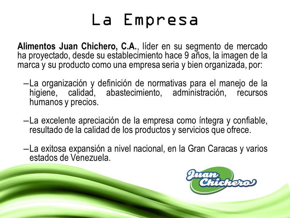 La Empresa Alimentos Juan Chichero, C.A., líder en su segmento de mercado ha proyectado, desde su establecimiento hace 9 años, la imagen de la marca y