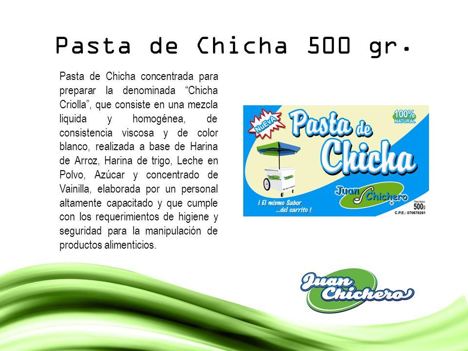 Pasta de Chicha 500 gr. Pasta de Chicha concentrada para preparar la denominada Chicha Criolla, que consiste en una mezcla liquida y homogénea, de con