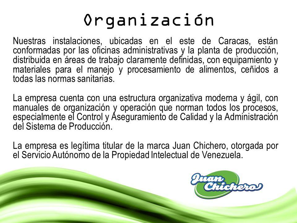Organización Nuestras instalaciones, ubicadas en el este de Caracas, están conformadas por las oficinas administrativas y la planta de producción, dis