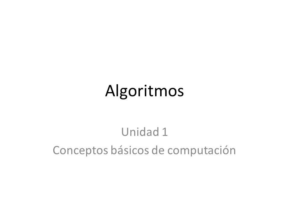 Algoritmos Unidad 1 Conceptos básicos de computación