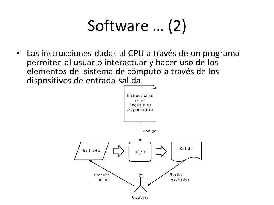 Software … (2) Las instrucciones dadas al CPU a través de un programa permiten al usuario interactuar y hacer uso de los elementos del sistema de cómputo a través de los dispositivos de entrada-salida.