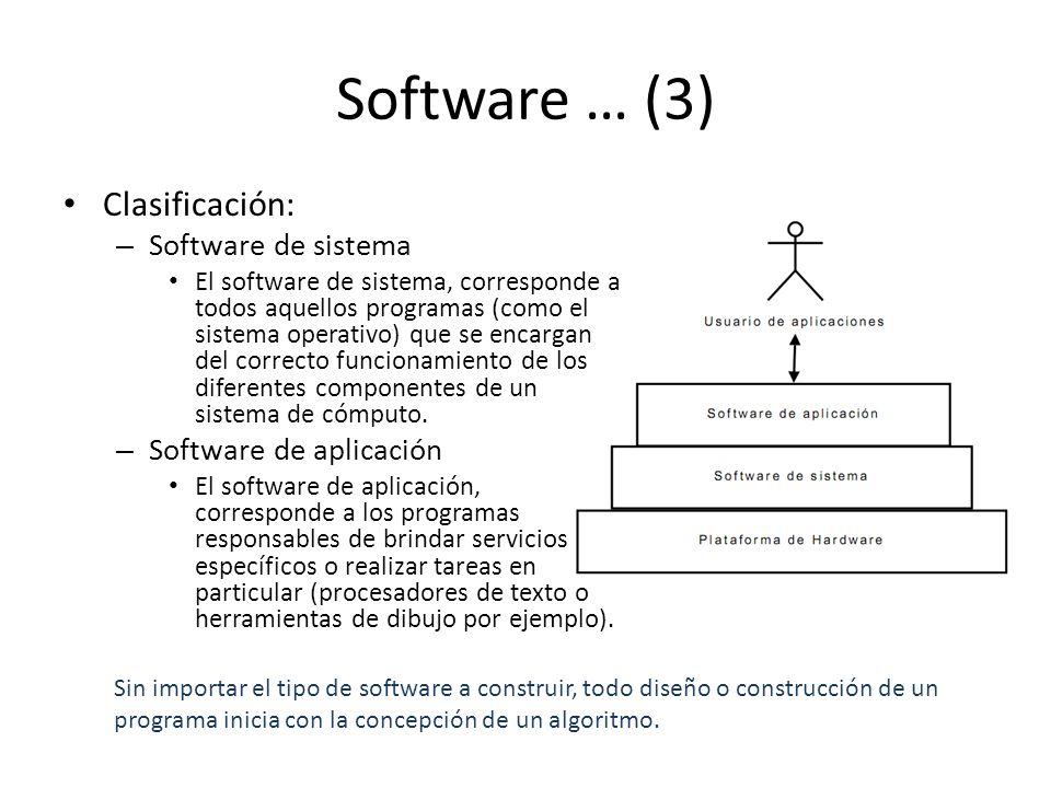 Software … (3) Clasificación: – Software de sistema El software de sistema, corresponde a todos aquellos programas (como el sistema operativo) que se encargan del correcto funcionamiento de los diferentes componentes de un sistema de cómputo.