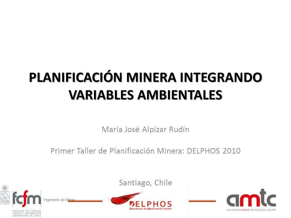 PLANIFICACIÓN MINERA INTEGRANDO VARIABLES AMBIENTALES María José Alpízar Rudín Primer Taller de Planificación Minera: DELPHOS 2010 Santiago, Chile