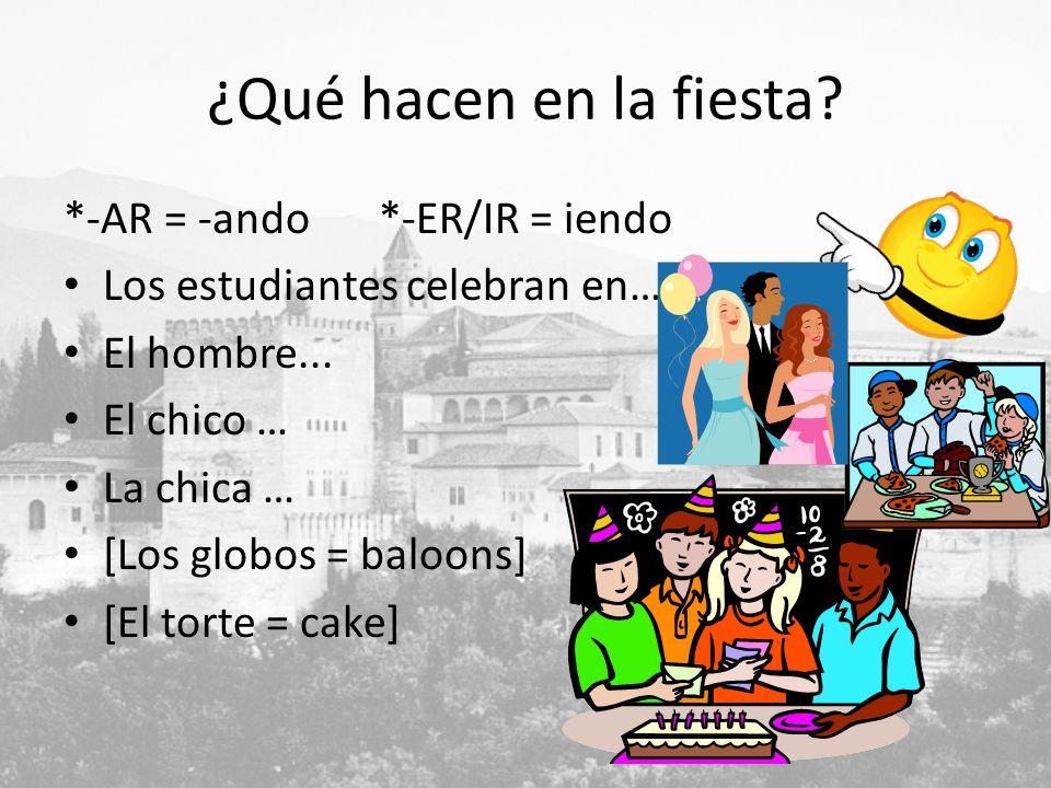 ¿Qué hacen en la fiesta? *-AR = -ando*-ER/IR = iendo Los estudiantes celebran en… El hombre... El chico … La chica … [Los globos = baloons] [El torte