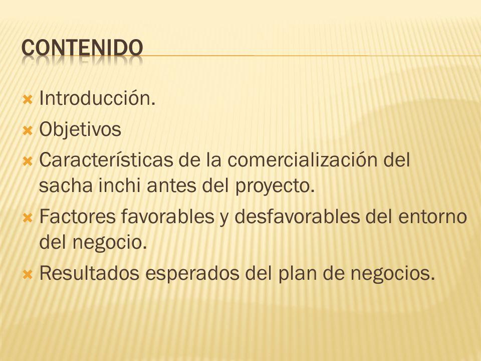 Introducción. Objetivos Características de la comercialización del sacha inchi antes del proyecto. Factores favorables y desfavorables del entorno del