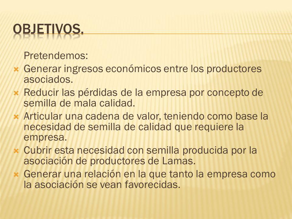 Pretendemos: Generar ingresos económicos entre los productores asociados. Reducir las pérdidas de la empresa por concepto de semilla de mala calidad.