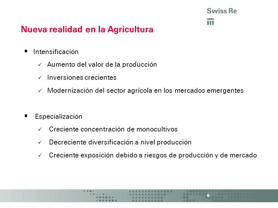 Intensificación Aumento del valor de la producción Inversiones crecientes Modernización del sector agrícola en los mercados emergentes Especialización
