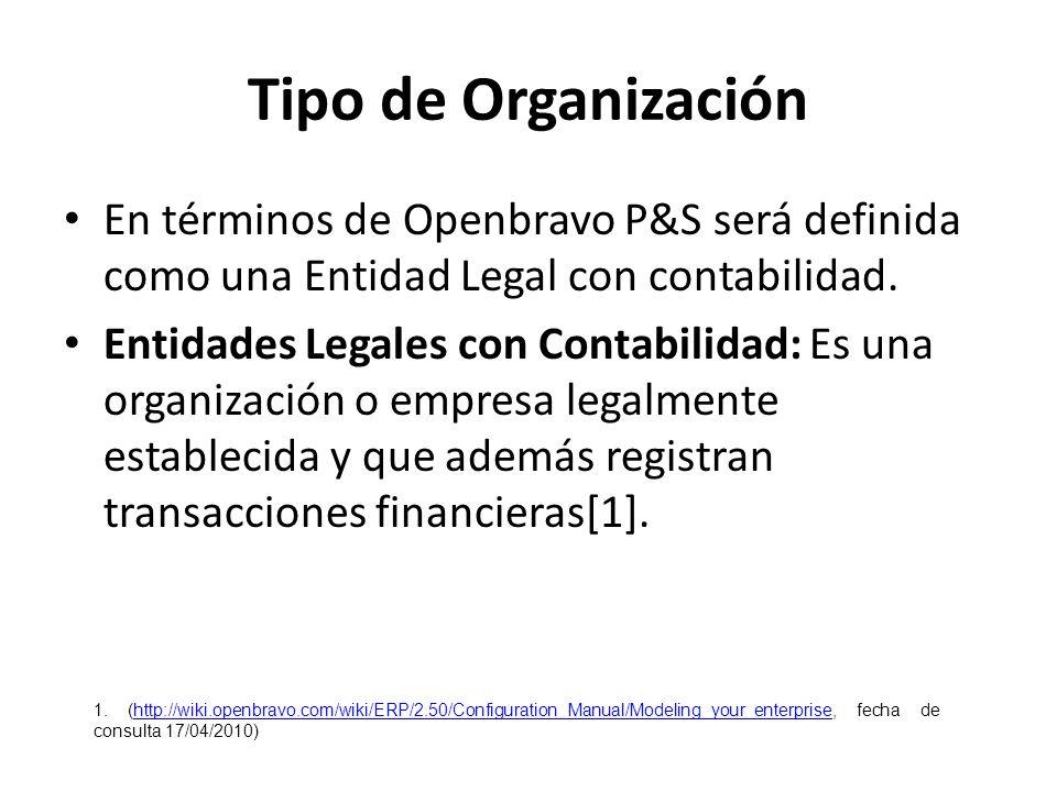 Tipo de Organización En términos de Openbravo P&S será definida como una Entidad Legal con contabilidad. Entidades Legales con Contabilidad: Es una or
