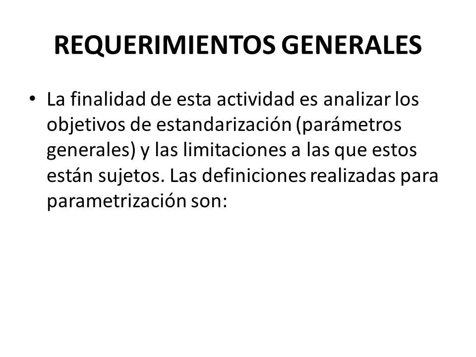 REQUERIMIENTOS GENERALES La finalidad de esta actividad es analizar los objetivos de estandarización (parámetros generales) y las limitaciones a las q