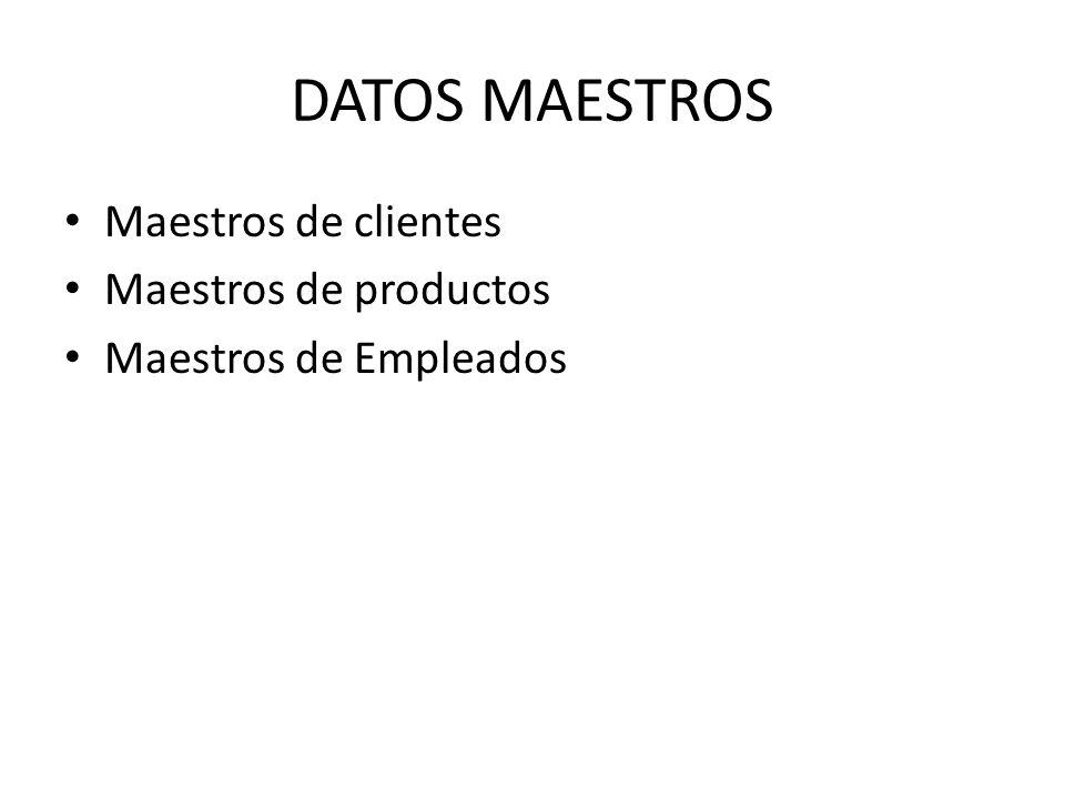 DATOS MAESTROS Maestros de clientes Maestros de productos Maestros de Empleados