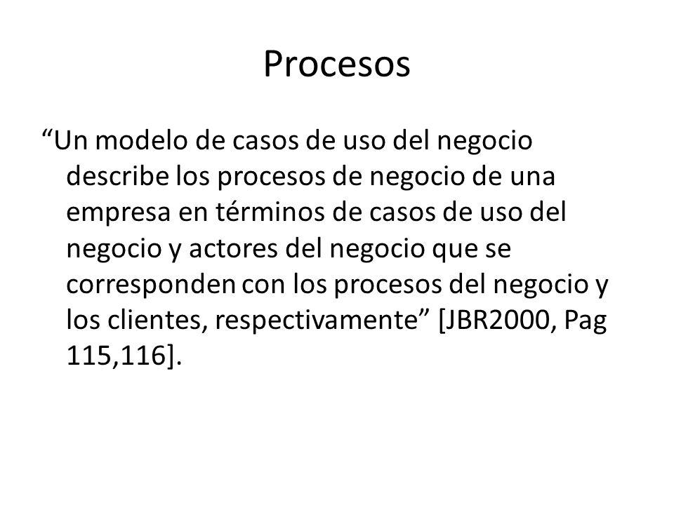 Procesos Un modelo de casos de uso del negocio describe los procesos de negocio de una empresa en términos de casos de uso del negocio y actores del n
