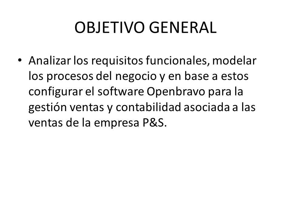 OBJETIVO GENERAL Analizar los requisitos funcionales, modelar los procesos del negocio y en base a estos configurar el software Openbravo para la gest