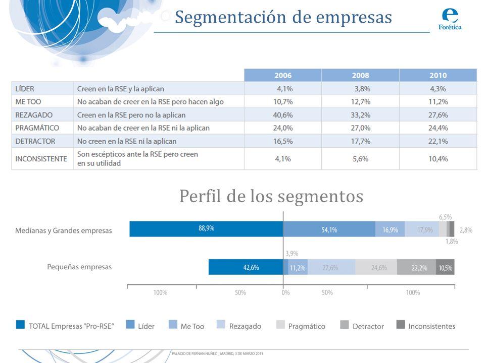 Segmentación de empresas Perfil de los segmentos