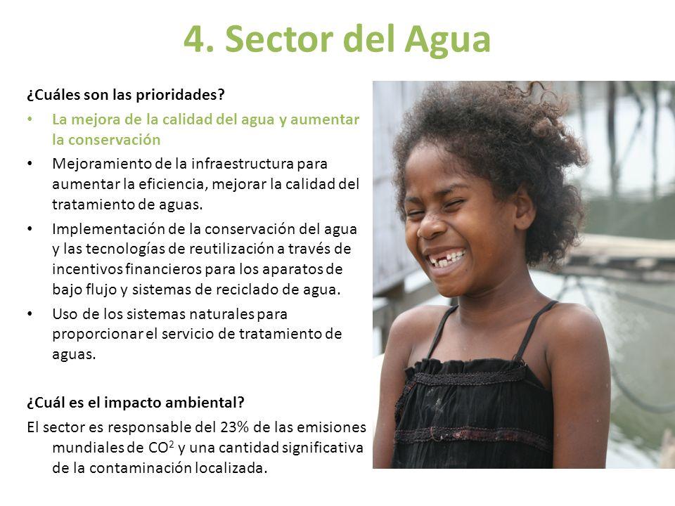 4. Sector del Agua ¿Cuáles son las prioridades? La mejora de la calidad del agua y aumentar la conservación Mejoramiento de la infraestructura para au