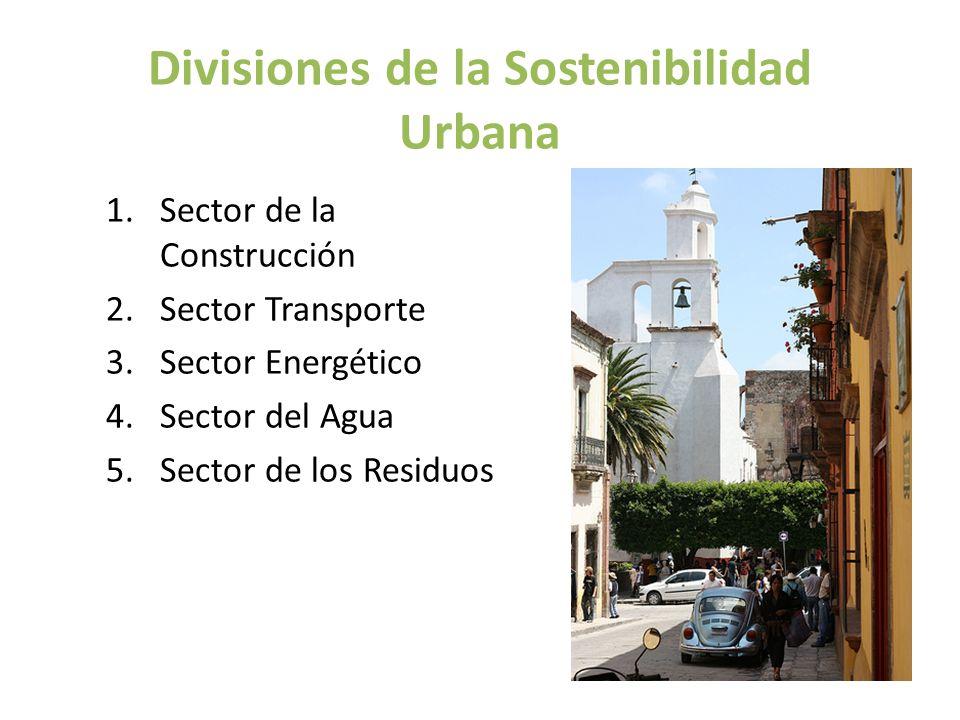 Divisiones de la Sostenibilidad Urbana 1.Sector de la Construcción 2.Sector Transporte 3.Sector Energético 4.Sector del Agua 5.Sector de los Residuos
