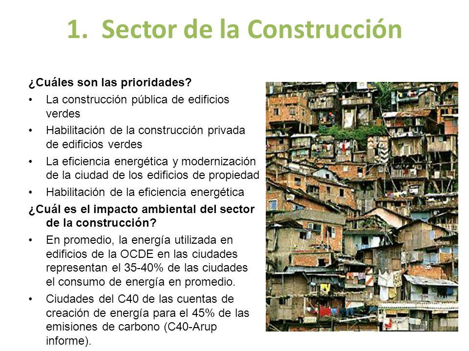 1. Sector de la Construcción ¿Cuáles son las prioridades? La construcción pública de edificios verdes Habilitación de la construcción privada de edifi