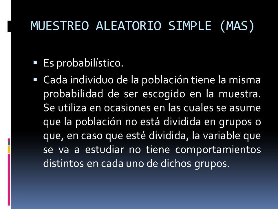 MUESTREO ALEATORIO SIMPLE (MAS) Es probabilístico. Cada individuo de la población tiene la misma probabilidad de ser escogido en la muestra. Se utiliz