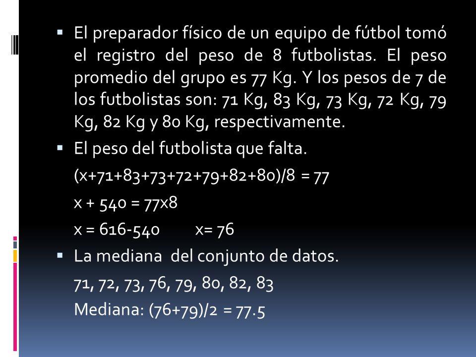 El preparador físico de un equipo de fútbol tomó el registro del peso de 8 futbolistas. El peso promedio del grupo es 77 Kg. Y los pesos de 7 de los f