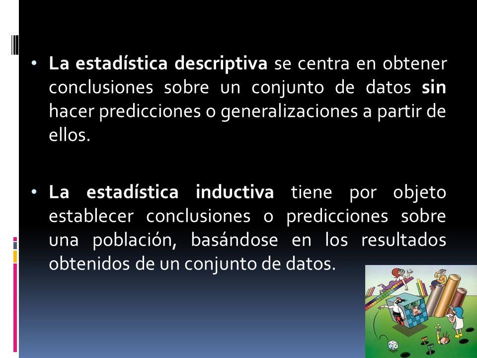 La estadística descriptiva se centra en obtener conclusiones sobre un conjunto de datos sin hacer predicciones o generalizaciones a partir de ellos. L