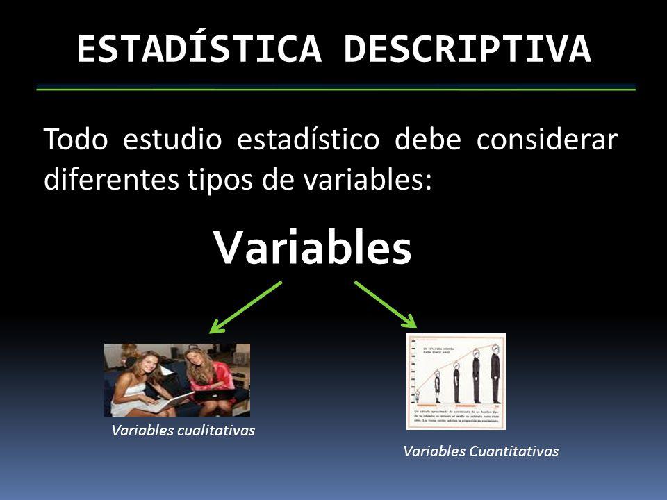 ESTADÍSTICA DESCRIPTIVA Todo estudio estadístico debe considerar diferentes tipos de variables: Variables Variables cualitativas Variables Cuantitativ