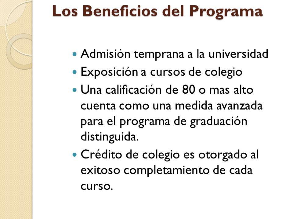 Admisión temprana a la universidad Exposición a cursos de colegio Una calificación de 80 o mas alto cuenta como una medida avanzada para el programa de graduación distinguida.