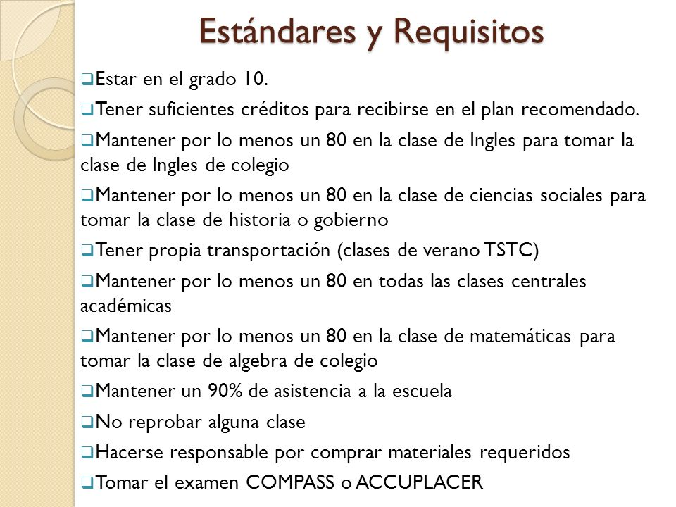 Estándares y Requisitos Estar en el grado 10.