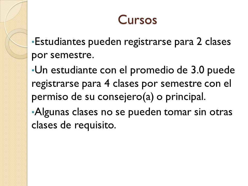 Cursos Estudiantes pueden registrarse para 2 clases por semestre.
