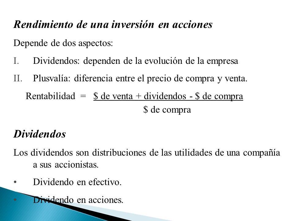 Rendimiento de una inversión en acciones Depende de dos aspectos: I.Dividendos: dependen de la evolución de la empresa II.Plusvalía: diferencia entre el precio de compra y venta.