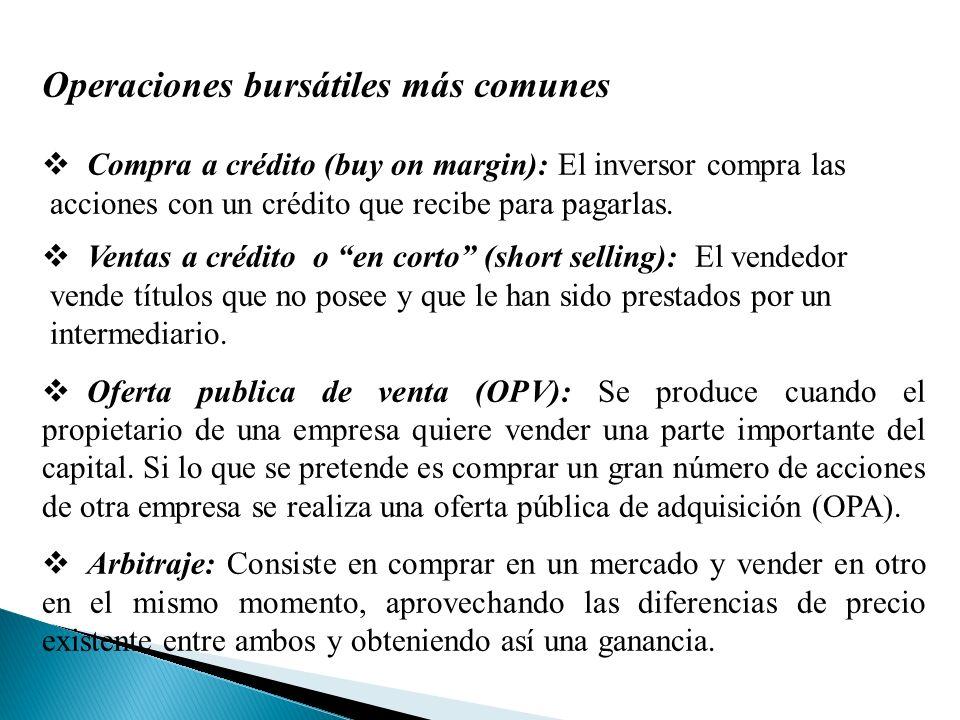 Operaciones bursátiles más comunes Compra a crédito (buy on margin): El inversor compra las acciones con un crédito que recibe para pagarlas.