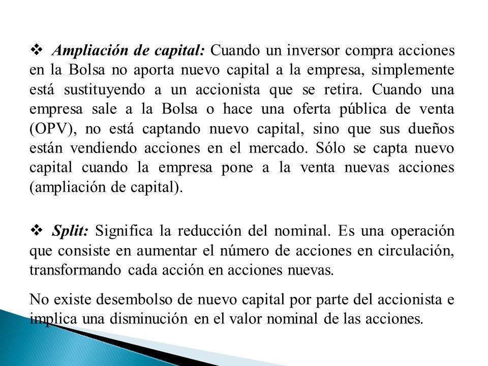 Ampliación de capital: Cuando un inversor compra acciones en la Bolsa no aporta nuevo capital a la empresa, simplemente está sustituyendo a un accionista que se retira.