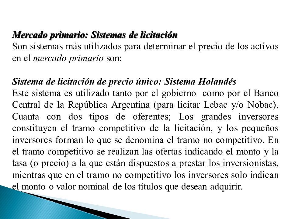 Mercado primario: Sistemas de licitación Son sistemas más utilizados para determinar el precio de los activos en el mercado primario son: Sistema de licitación de precio único: Sistema Holandés Este sistema es utilizado tanto por el gobierno como por el Banco Central de la República Argentina (para licitar Lebac y/o Nobac).