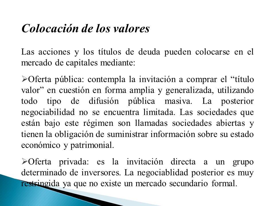 Títulos de renta variable: Acciones Representan las partes en que se divide el capital de una empresa organizada como sociedad por acciones.