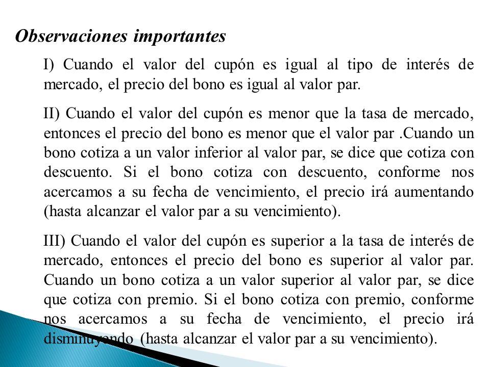 Observaciones importantes I) Cuando el valor del cupón es igual al tipo de interés de mercado, el precio del bono es igual al valor par.