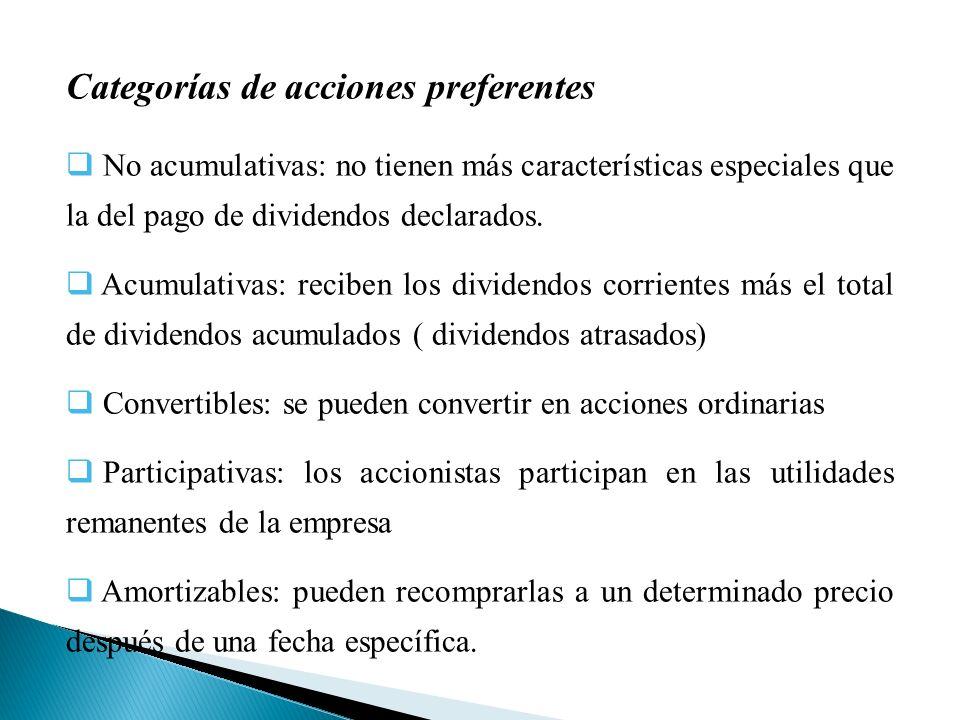 Categorías de acciones preferentes No acumulativas: no tienen más características especiales que la del pago de dividendos declarados.