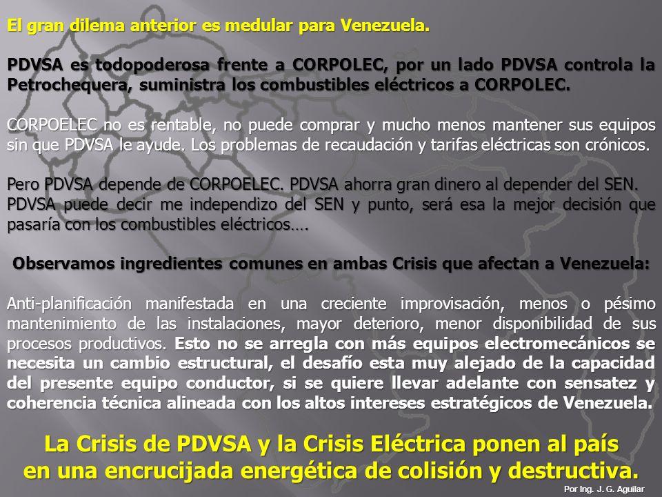 Por Ing. J. G. Aguilar El gran dilema anterior es medular para Venezuela. PDVSA es todopoderosa frente a CORPOLEC, por un lado PDVSA controla la Petro