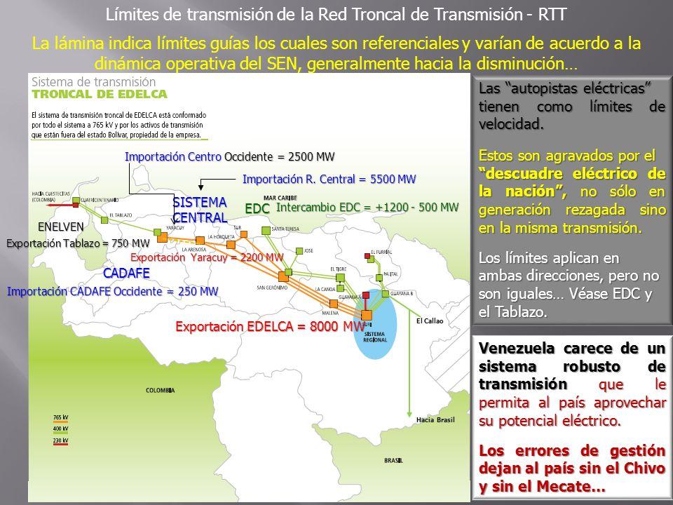 Hacia Brasil EDC ENELVEN CADAFE SISTEMACENTRAL El Callao Límites de transmisión de la Red Troncal de Transmisión - RTT La lámina indica límites guías