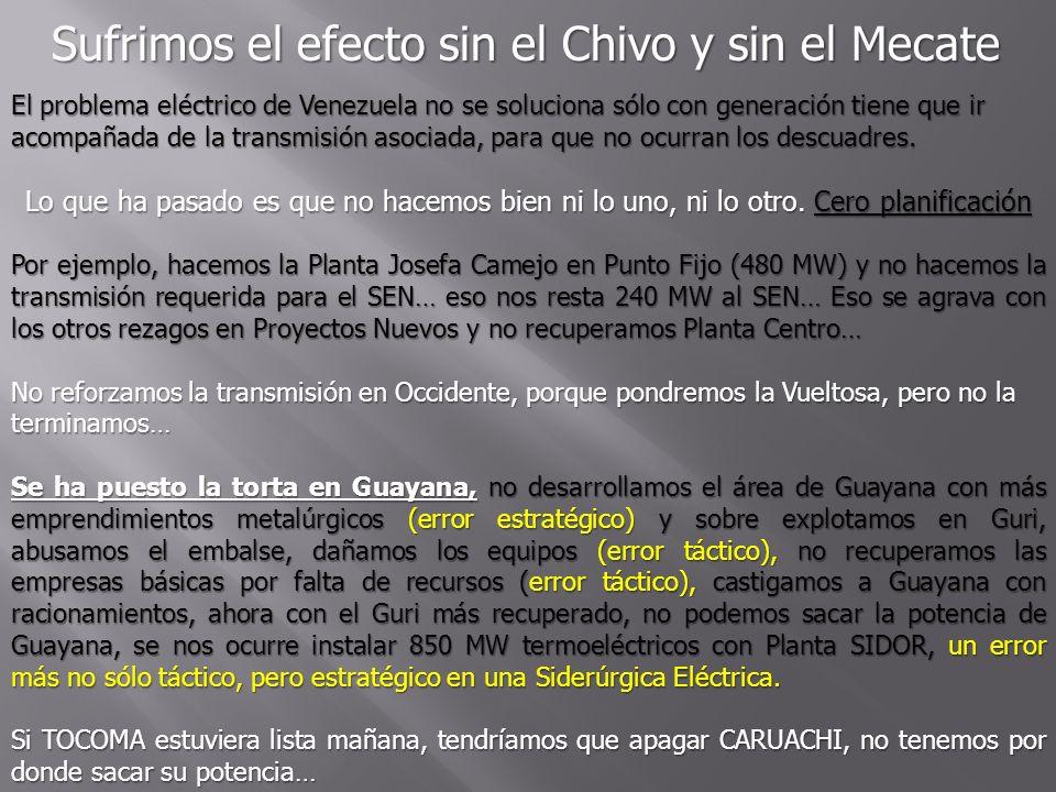 Sufrimos el efecto sin el Chivo y sin el Mecate El problema eléctrico de Venezuela no se soluciona sólo con generación tiene que ir acompañada de la t