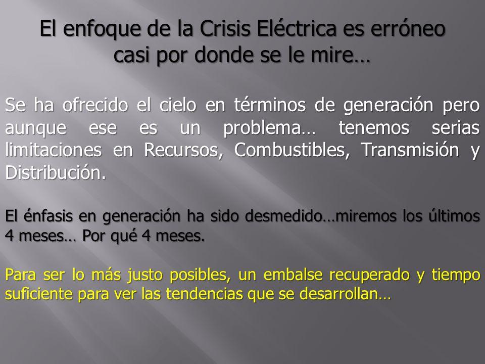 El enfoque de la Crisis Eléctrica es erróneo casi por donde se le mire… Se ha ofrecido el cielo en términos de generación pero aunque ese es un proble