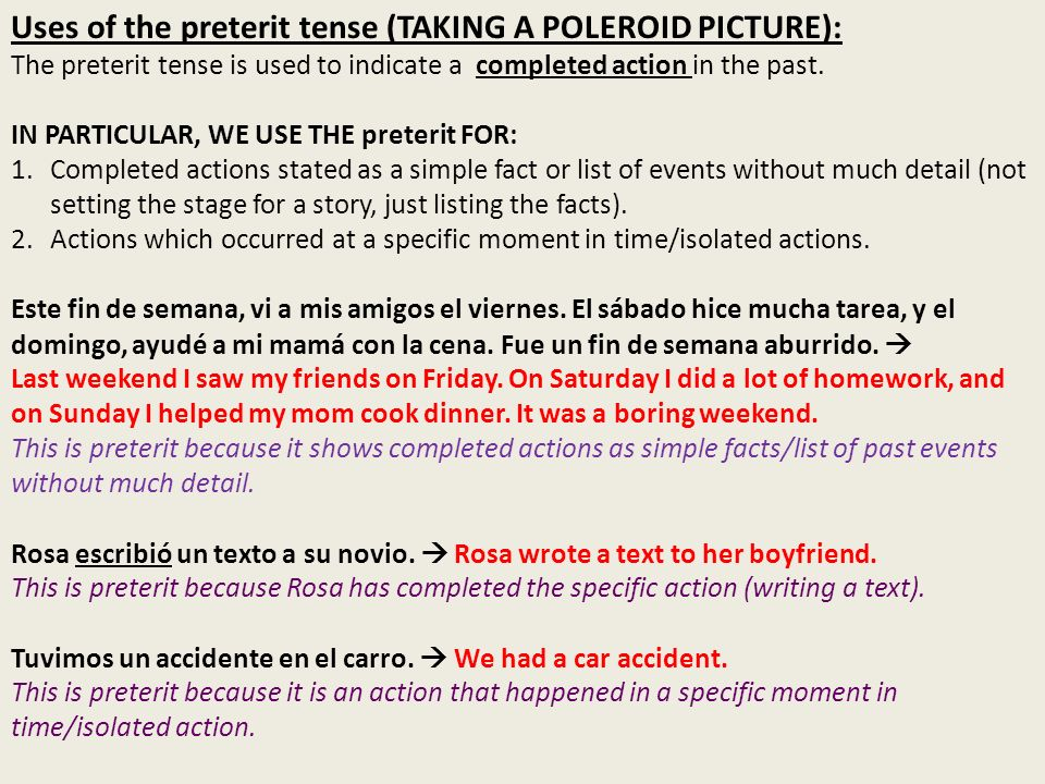 Uses of the imperfect tense (SETTING THE STAGE/SCENERY.