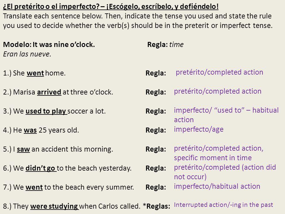 MÁS PRÁCTICA: ¿Pretérito o imperfecto.