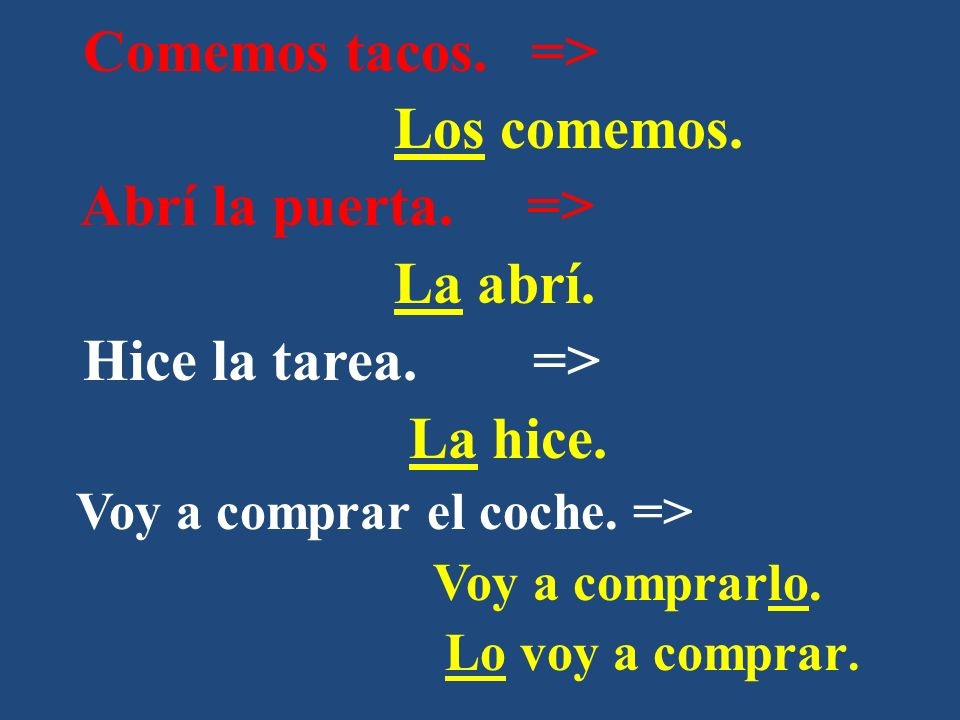Once you know what the IO of the sentence is, you can then replace it with an IO pronoun: Me Nos Te Os Le Les