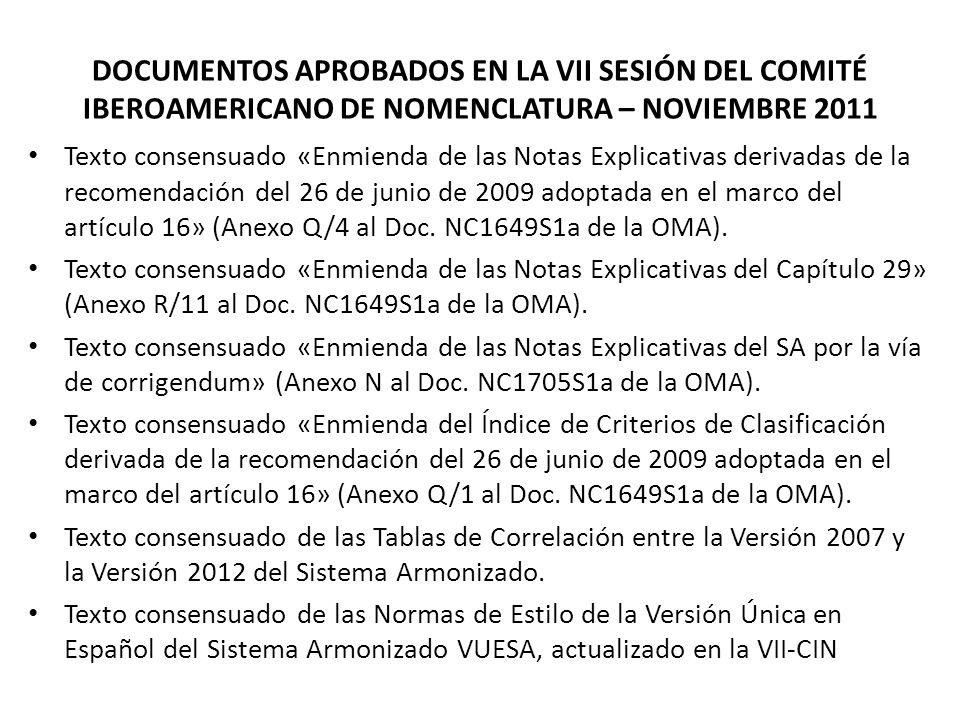 DOCUMENTOS APROBADOS EN LA VII SESIÓN DEL COMITÉ IBEROAMERICANO DE NOMENCLATURA – NOVIEMBRE 2011 Texto consensuado «Enmienda de las Notas Explicativas derivadas de la recomendación del 26 de junio de 2009 adoptada en el marco del artículo 16» (Anexo Q/4 al Doc.