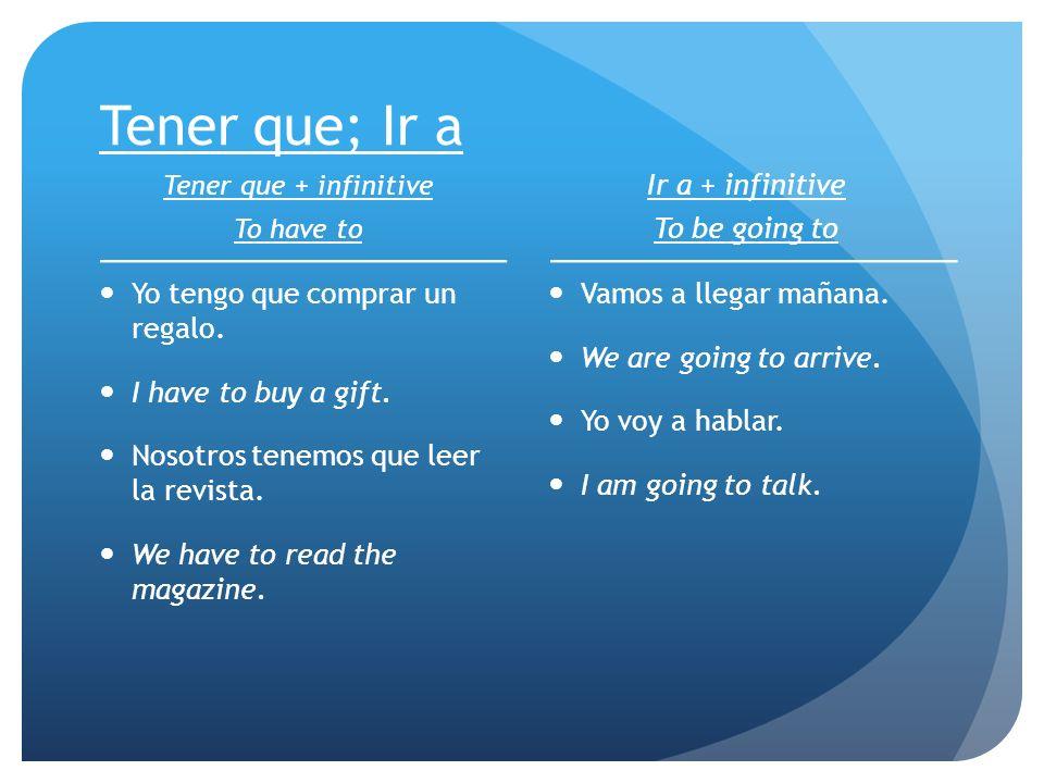 Tener que; Ir a Tener que + infinitive To have to Yo tengo que comprar un regalo. I have to buy a gift. Nosotros tenemos que leer la revista. We have