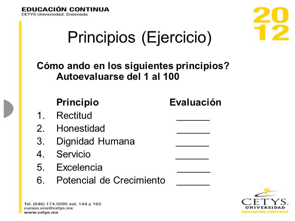 Principios (Ejercicio) Cómo ando en los siguientes principios? Autoevaluarse del 1 al 100 PrincipioEvaluación 1.Rectitud ______ 2.Honestidad ______ 3.