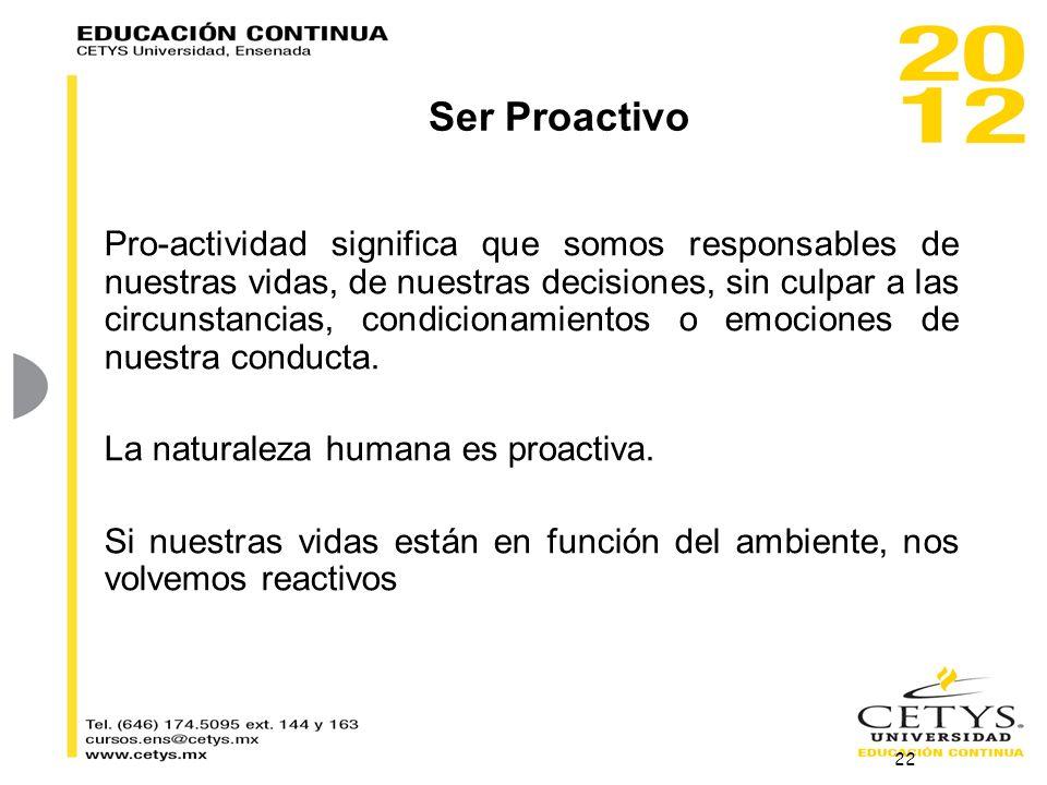 Ser Proactivo Pro-actividad significa que somos responsables de nuestras vidas, de nuestras decisiones, sin culpar a las circunstancias, condicionamie