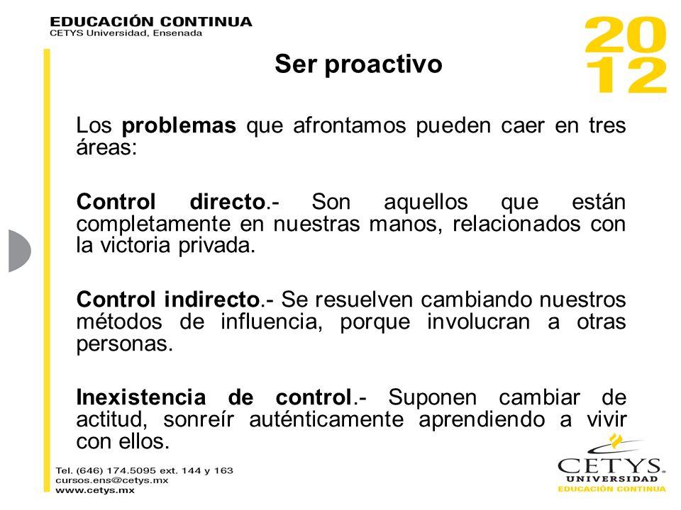 Ser proactivo Los problemas que afrontamos pueden caer en tres áreas: Control directo.- Son aquellos que están completamente en nuestras manos, relaci
