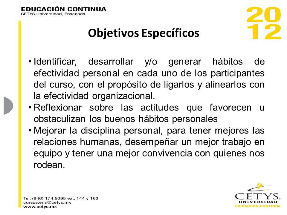 Objetivos Específicos Identificar, desarrollar y/o generar hábitos de efectividad personal en cada uno de los participantes del curso, con el propósit