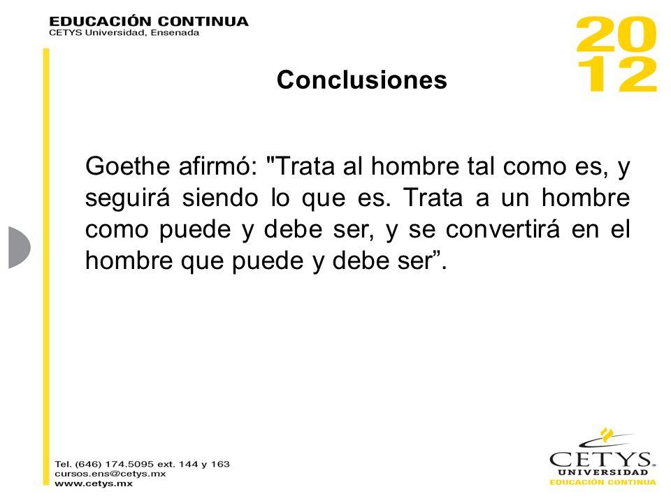 Conclusiones Goethe afirmó: